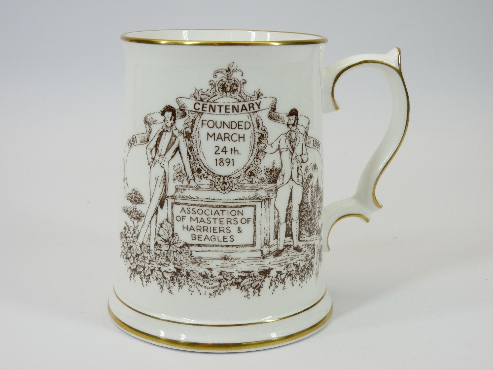 COMMEMORATIVE TANKARD, WILLOW PATTERN & OTHER BLUE & WHITE TABLEWARE and a Wedgwood decorative - Image 2 of 3