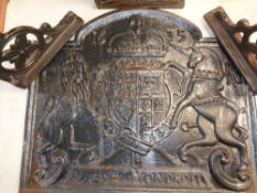 REPRODUCTION CAST IRON FIRE BACK - Royal Crest 'G R' initials and 1635 date, 58cms H, 67cms W