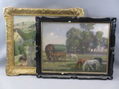 UNATTRIBUTED OILS ON BOARD (2) - a gilt framed example depicting cattle and a dog within a village