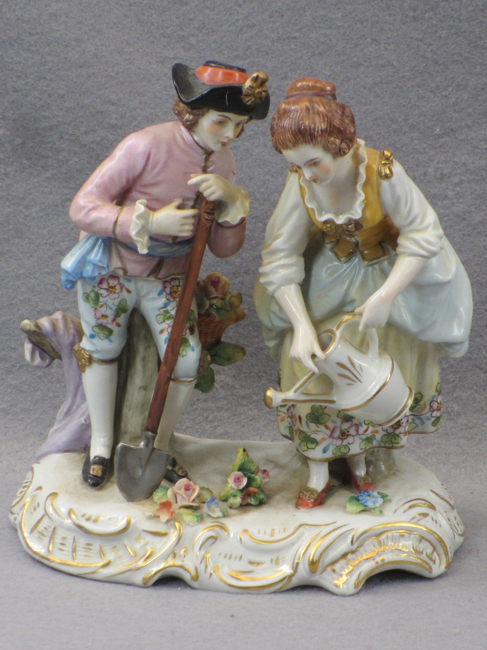 PORCELAIN & COMPOSITION CABINET FIGURINES, A COLLECTION including a Sitzendorf group of young man - Image 7 of 7