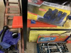 MOTORING TOOLS & ACCESSORIES - a boxed power washer, pair of metal ramps, socket set, emergency