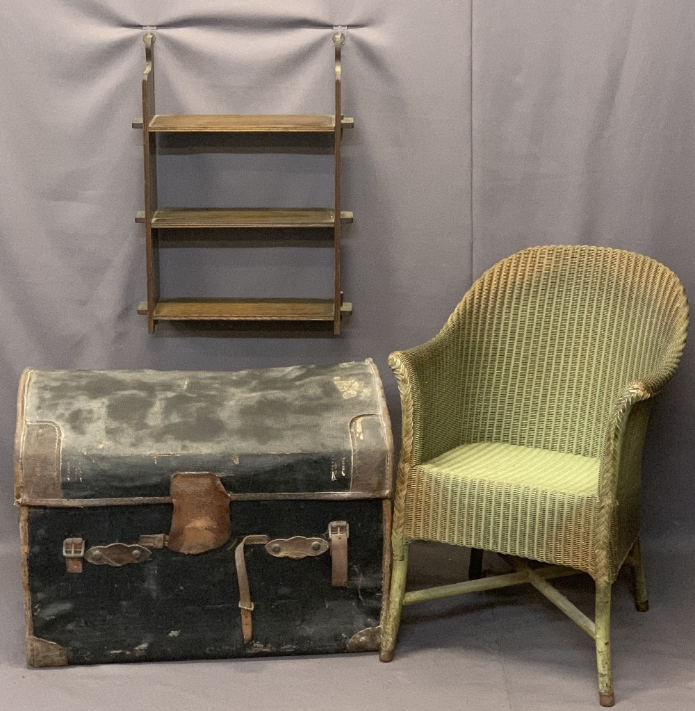 VINTAGE STEAMER TRUNK and two items of occasional furniture, the dome top trunk in mixed leather and