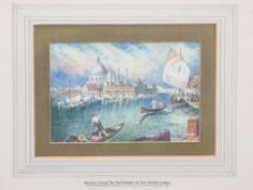 WATERCOLOUR titled - 'Venice from the entrance to the Grand Canal' indistinct artist's signature,