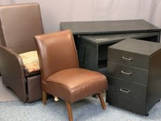 MODERN BLACK OFFICE FURNITURE, 3 ITEMS and two rexine style covered chairs to include a
