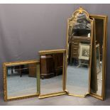 REPRODUCTION GILT FRAMED MIRRORS (4) - a tall shaped top example, 135 x 39cms, slim example, 124 x