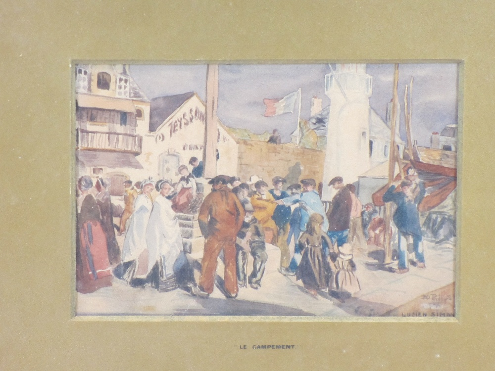 AFTER LUCIEN SIMON watercolour - entitled 'Le Campement', 13 x 19cms and a mid-19th Century - Image 4 of 4
