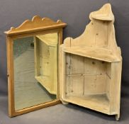 VINTAGE STRIPPED PINE CORNER WALL SHELF and a pine framed dressing mirror, 82cms H, 56cms W and