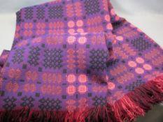 VINTAGE WELSH WOOLLEN BLANKET - with 'Derw Product' label, traditional reversible pattern in purple,