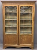 CIRCA 1900 MAHOGANY TWO DOOR CHINA DISPLAY CABINET - with dentil detail to the cornice and string