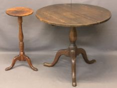 EARLY 19TH CENTURY TABLES (2) - to include a mahogany candle stand with turned column and tripod