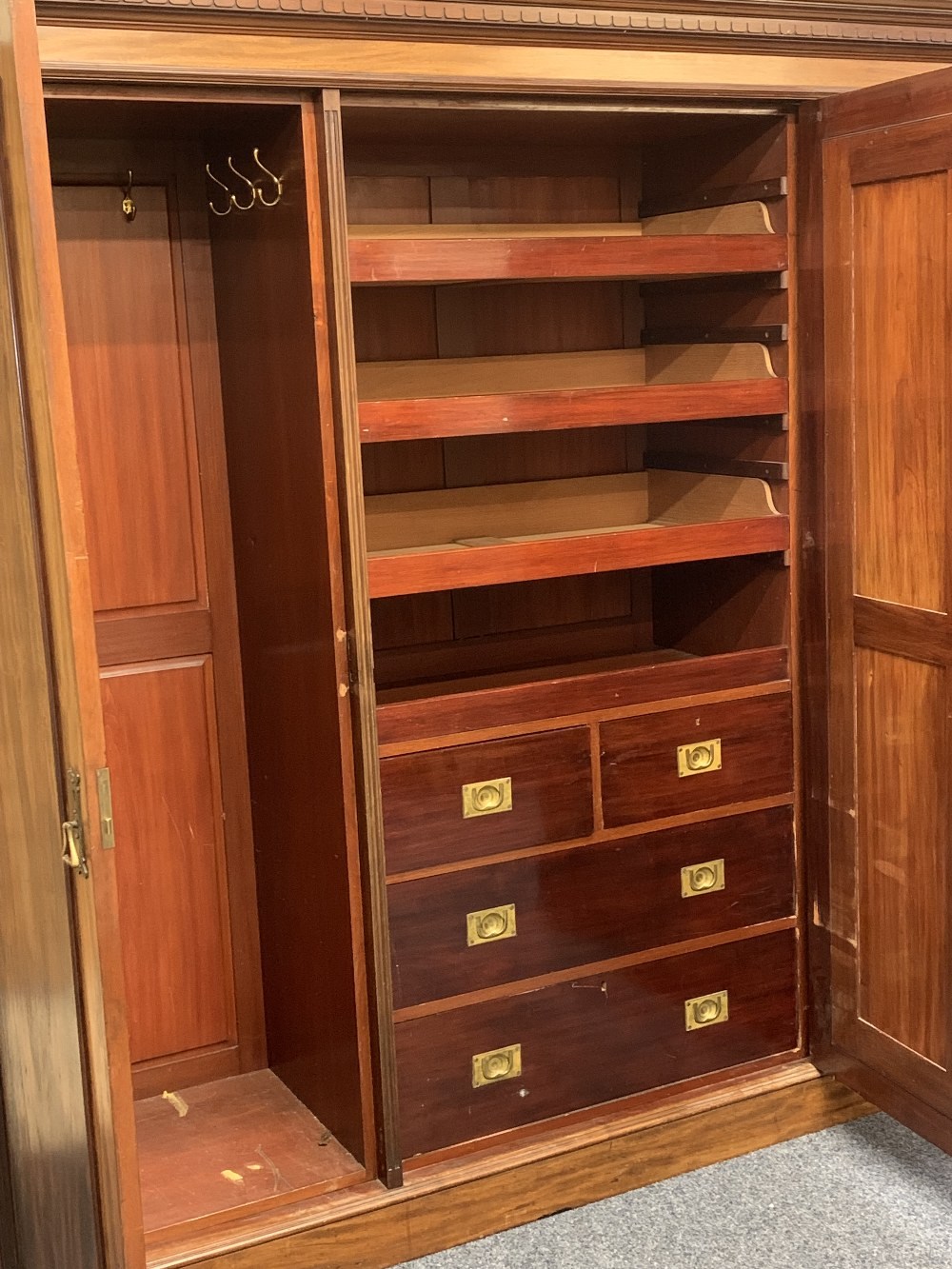 CIRCA 1900 MAHOGANY TRIPLE WARDROBE with dentil carved cornice and large central mirrored door - Image 2 of 6