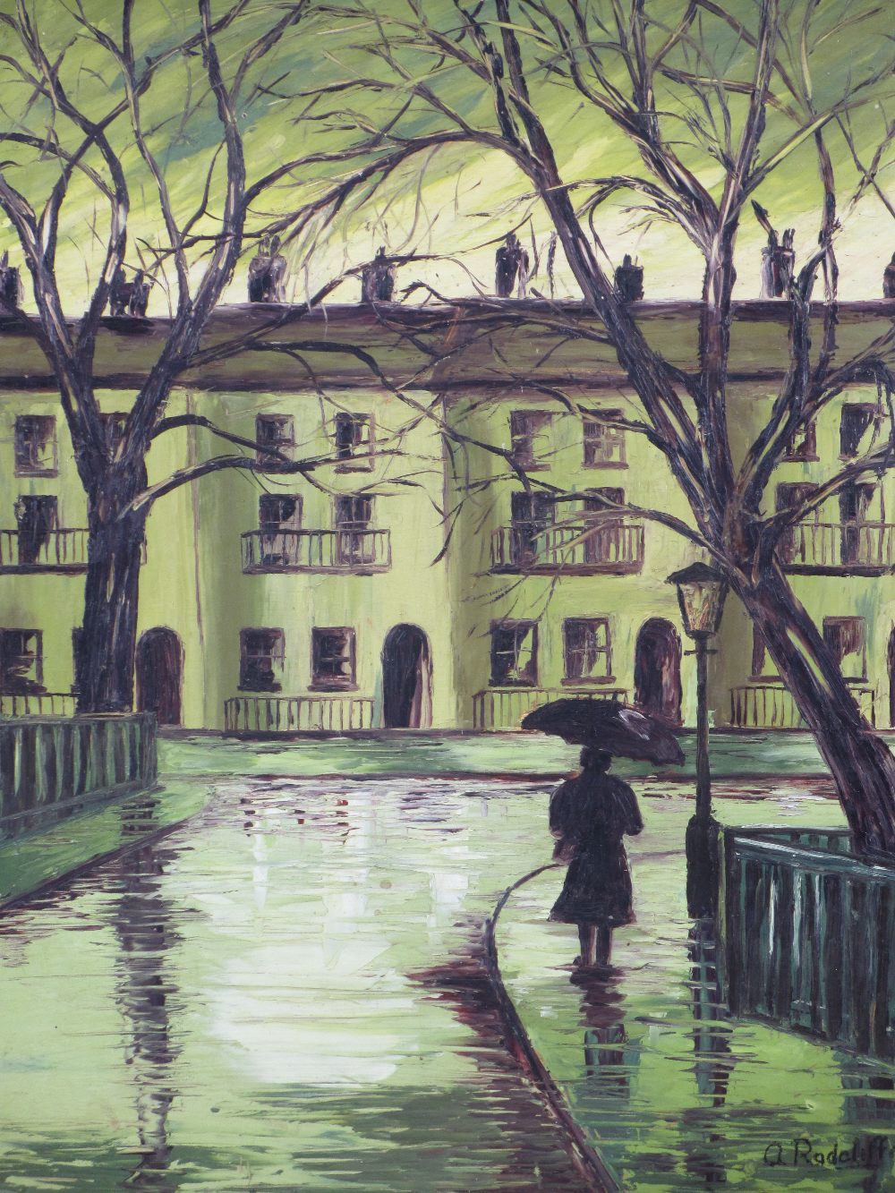 A RADCLIFFE palette knife acrylic - rainy town scene, dated verso 1977, 52 x 41cms and two oils on - Image 2 of 5