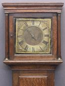 MID 18TH CENTURY OAK LONGCASE CLOCK by Thomas Ranger of Chipstead - unusual 10in brass square dial