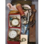 VINTAGE POCKET WATCHES & MIXED COLLECTABLES GROUP - a Chester silver cased example, the dial