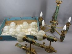 EMPIRE STYLE REPRODUCTION CEILING CHANDELIER & WALL LIGHTS - gilt, brass and painted with decorative