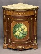 REPRODUCTION KINGWOOD STYLE MARBLE TOPPED CORNER CABINET - gilt metal embellishments and central