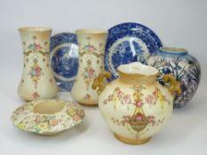 WILTON WARE LUSTRE VASE, Crown Devon Fielding's blush vases (3), Blue & White plates, ETC