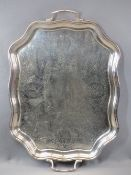 SILVER PLATED TWIN HANDLED SERVING TRAY - 57 x 39.5cms