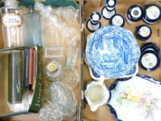 GEORGE JONES ABBEY, Victorian dressing table set, vintage chemist bottles and other glassware and