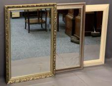 MODERN RECTANGULAR WALL MIRRORS (3) - one being light wood effect, 65 x 84.5cms, gilt framed example