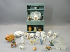 CABINET MINIATURES, JOCK & OTHER WADE FIGURINES with a small blue painted wooden dresser