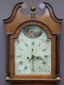 EARLY 19TH CENTURY OAK LONGCASE CLOCK by W Scott, Lauder, arched top painted dial set with Roman