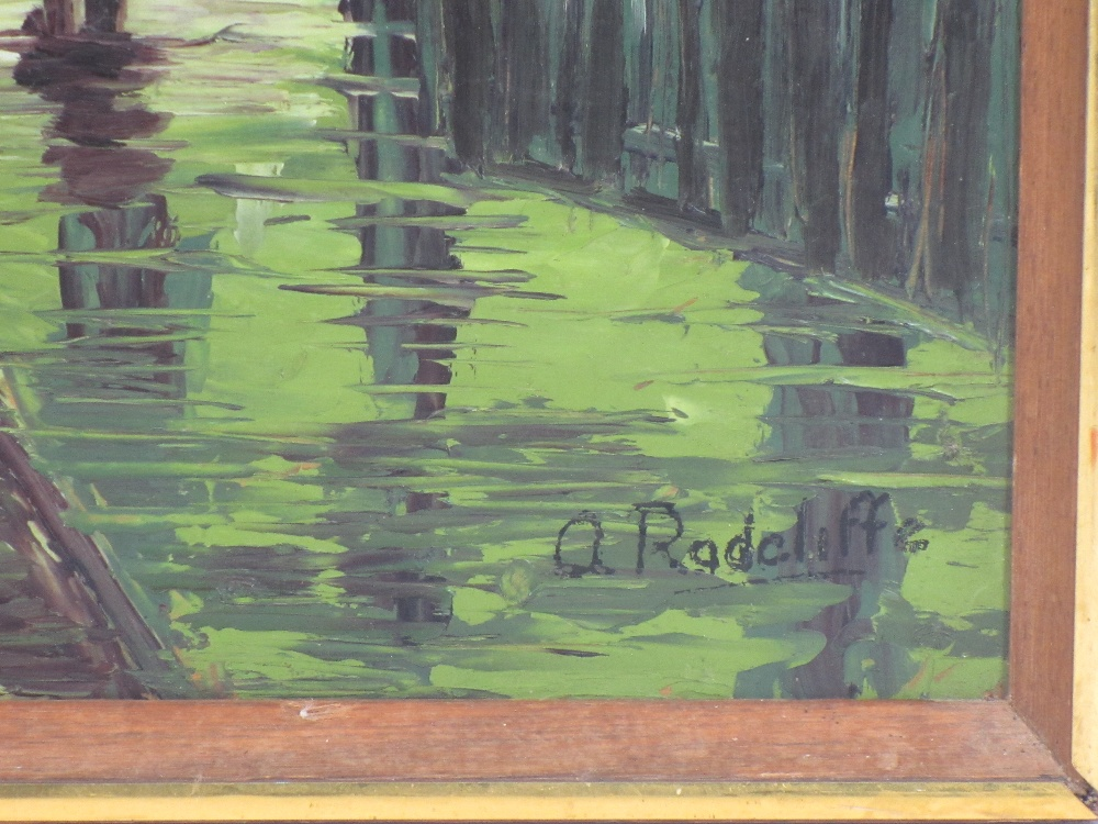 A RADCLIFFE palette knife acrylic - rainy town scene, dated verso 1977, 52 x 41cms and two oils on - Image 3 of 5