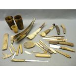 ANTIQUE HORN BEAKERS, SNUFF BOX & OTHER IMPLEMENTS, bone spoons and a mixed quantity of horn and