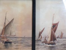EDWARDIAN MARINE WATERCOLOURS, A PAIR - busy shipping scenes, heightened with white, 37.5 x 50.