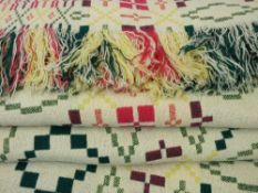 TRADITIONAL WELSH WOOLLEN BLANKET - in colourful yellow, green and red tones, reversible pattern