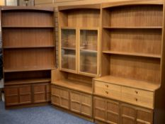 NATHAN THREE PART LOUNGE SYSTEM - a glass top display with lower cupboard doors, open display unit
