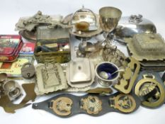 MIXED GROUP OF COLLECTABLES, IN TWO BOXES - EPNS, brassware, vintage tins and haberdashery goods,