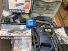 CASED & BOXED ELECTRICAL POWER TOOLS - Powercraft saw, hammer drill, Parkside electric scraper,