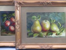 GILT FRAMED OILS ON BOARD, A PAIR - unattributed studies of still life fruit, 19 x 29cms