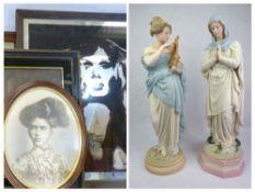 ANTIQUE COACHING TYPE PRINTS, 38 x 50cms, a pop art style mirror, old portrait print and a vintage