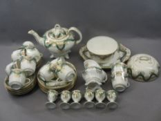 VICTORIAN BREAKFAST SET - in green and gilt, 40 plus pieces including teapot, muffin dish and six