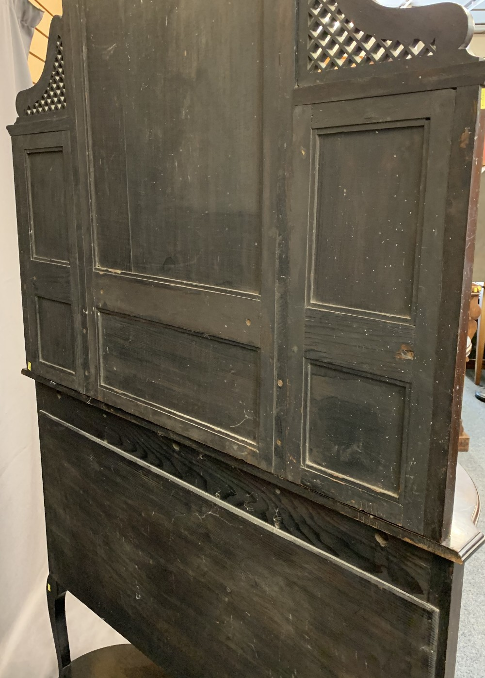 VICTORIAN MIRROR BACKED SIDE CABINET - ebonised on cabriole supports, the mirrors bevel glass, 2. - Image 3 of 3