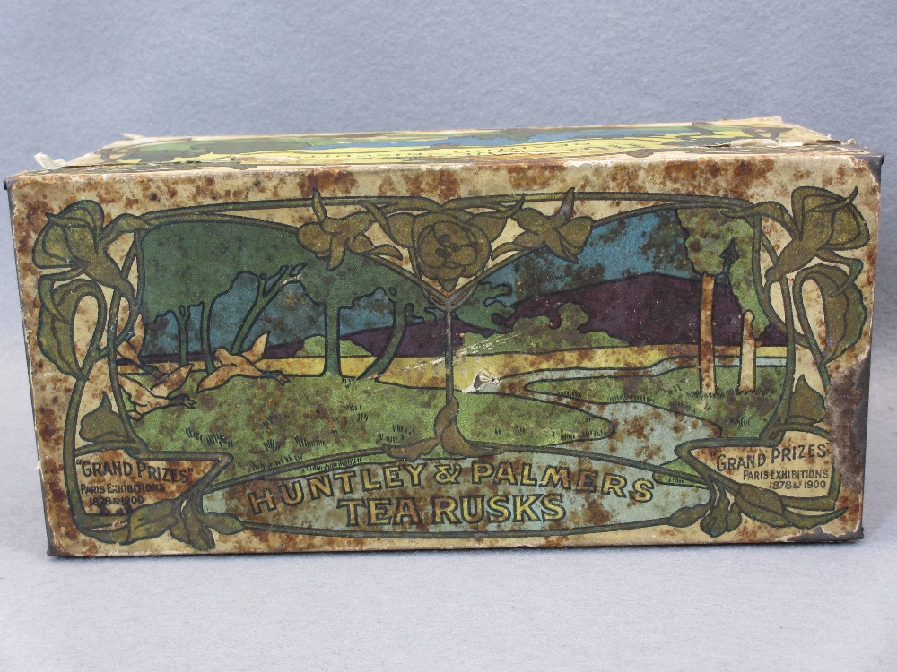EP & OTHER CUTLERY - in a rare paper covered Huntley & Palmer's Tea Rusks tin, Art Nouveau style - Image 3 of 7