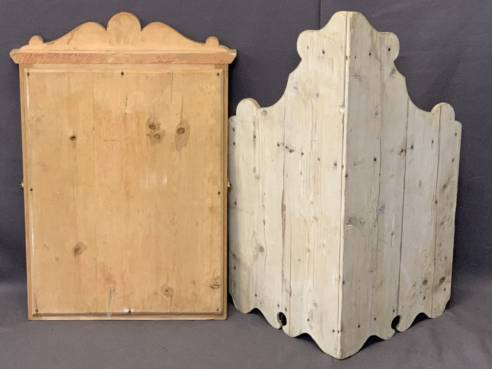 VINTAGE STRIPPED PINE CORNER WALL SHELF and a pine framed dressing mirror, 82cms H, 56cms W and - Image 2 of 2