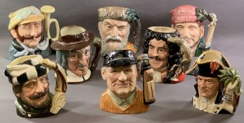 ROYAL DOULTON CHARACTER JUGS (8) - 'Robinson Crusoe' D6532, 'Lumberjack' D6610, 'Veteran Motorist'