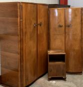 CWS BEDROOM FURNITURE comprising lady's wardrobe, 176cms H, 93cms W, 58cms D and gent's wardrobe,
