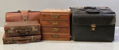 VINTAGE SUITCASES/BRIEFCASES and a polished wooden four drawer table top chest