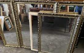 LARGE GILT FRAMED QUARTET OF HALL MIRRORS, 70 x 102cms and a pair of gilt framed narrow mirrors,