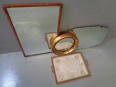 MIRRORS - an assortment including a walnut framed bevelled glass oblong mirror, 42 x 69cms, a