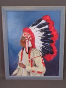 J E HEWITT oil on board - portrait of a Native American Indian with head-dress, signed right hand