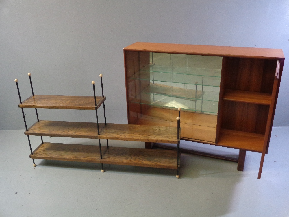 G-PLAN STYLE BOOKCASE CUPBOARD, mid Century having sliding glass doors and a single wooden door, - Image 2 of 2
