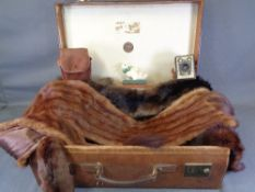 VINTAGE SUITCASE - an excellent leather example by Finnegans of Manchester, furs, Kodak Box