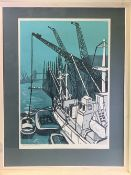 LEONARD RENTON coloured limited edition (5/20) print - River Thames from London Bridge, signed and