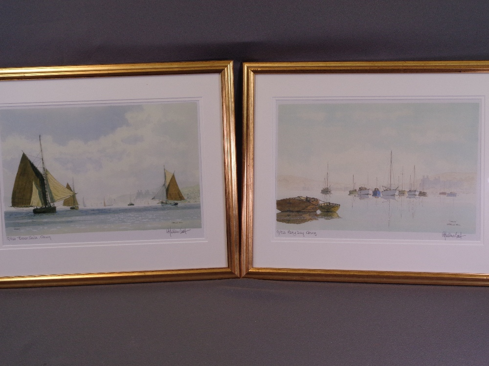 CHARLES BELL limited edition (91/250) and (37/250) prints, a pair - titled 'Brown Sails, Conwy'