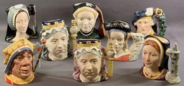 ROYAL DOULTON CHARACTER JUGS (8) - 'Jane Seymour' D6646, 'Bonnie Prince Charlie' D6858, 'Anne